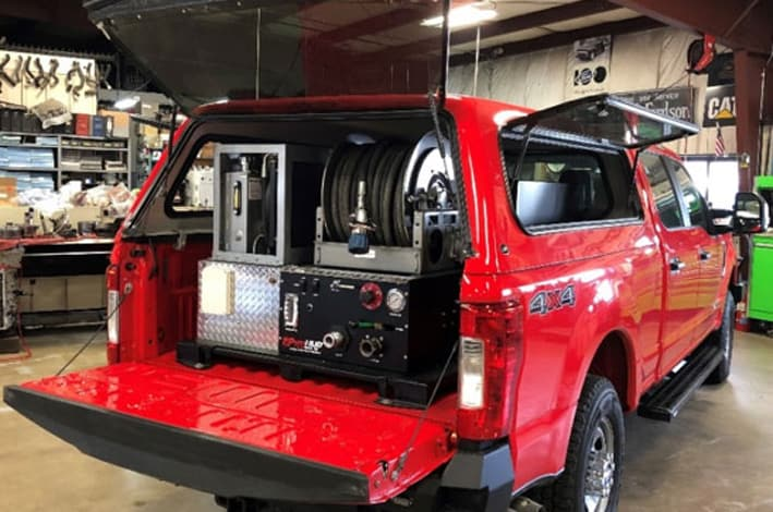 Pickup truck with Pyro UHP equipment installed